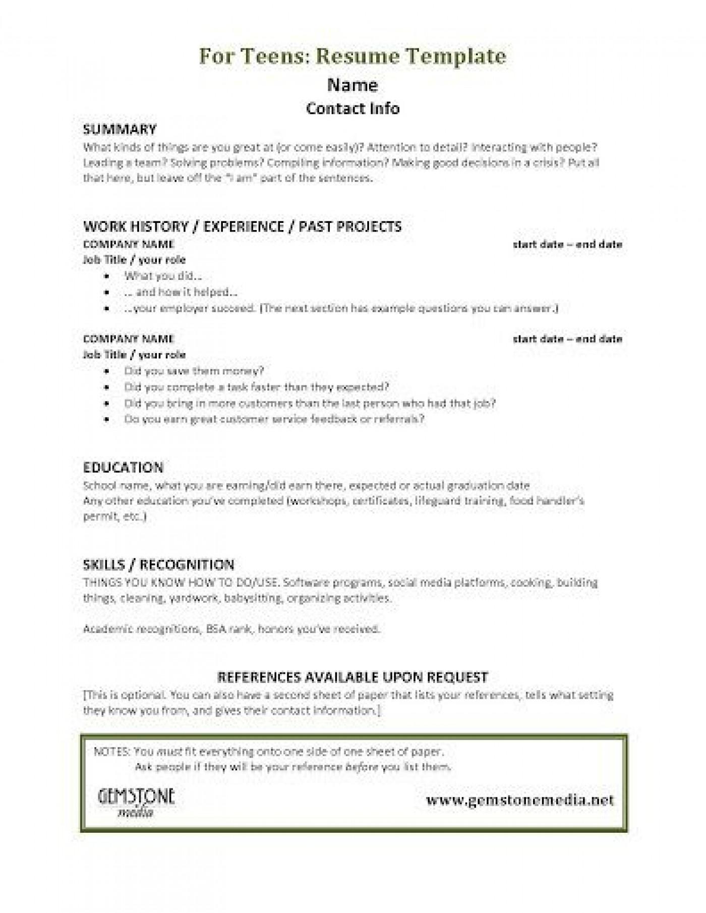 001 Astounding Resume Template For Teen Design  Teenager First Job Australia1400