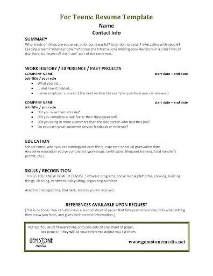 001 Astounding Resume Template For Teen Design  Teenager First Job Australia728