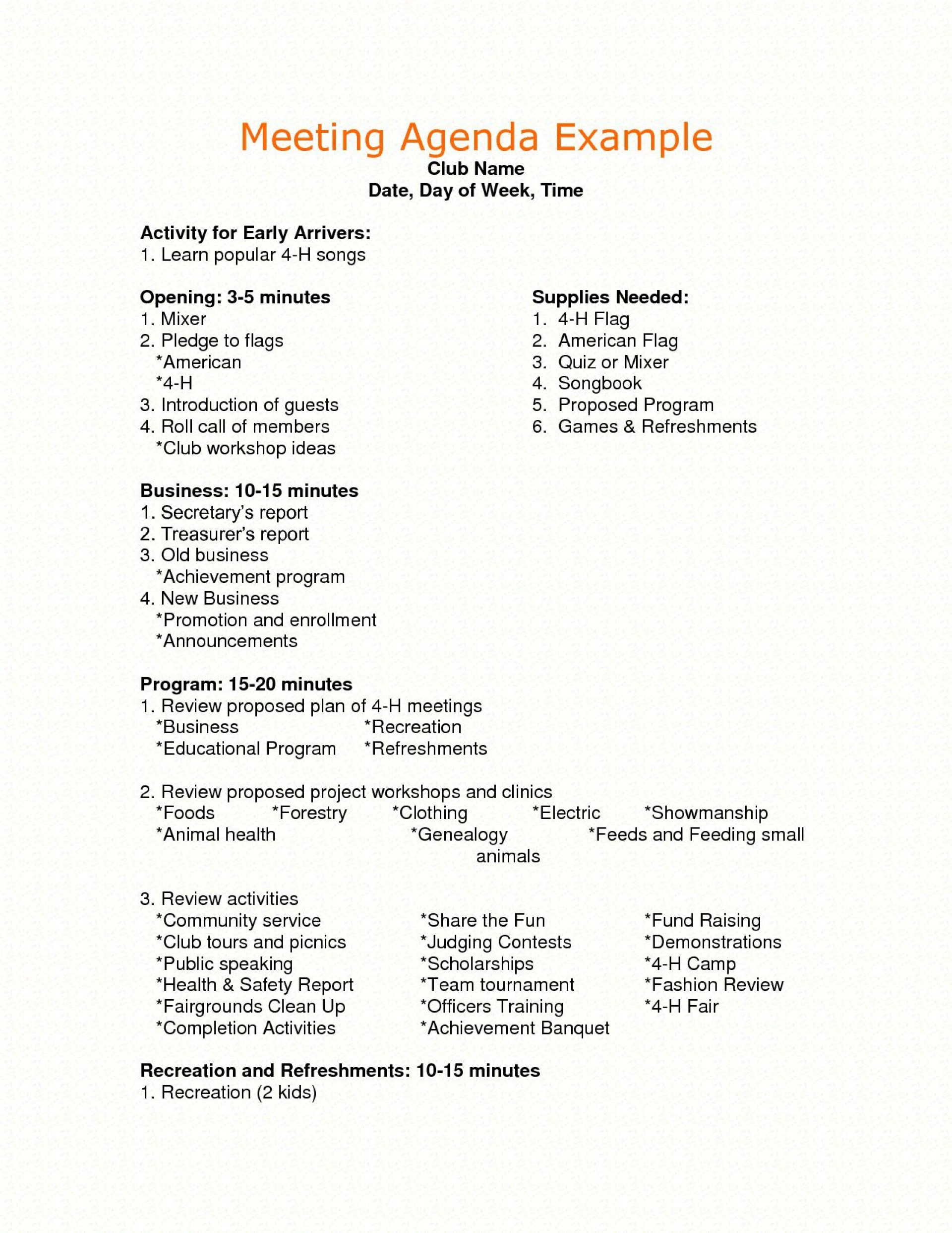 Sample Meeting Agenda Template Addictionary