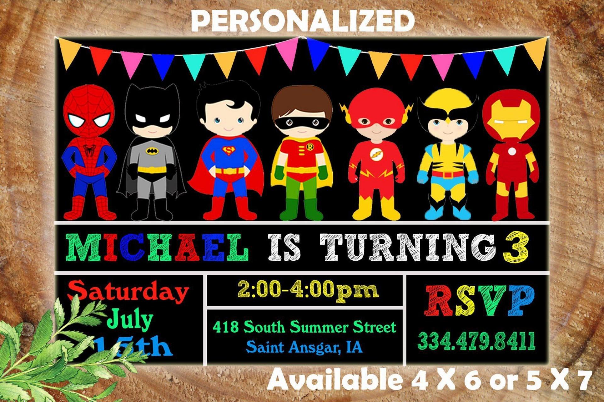 001 Astounding Superhero Birthday Invitation Template Free Design 1920