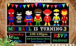 001 Astounding Superhero Birthday Invitation Template Free Design