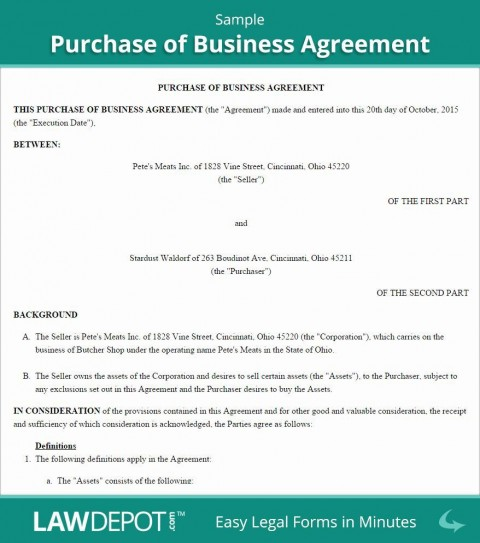 001 Awesome Busines Sale Agreement Template Image  Western Australia Free Uk Download South Africa480
