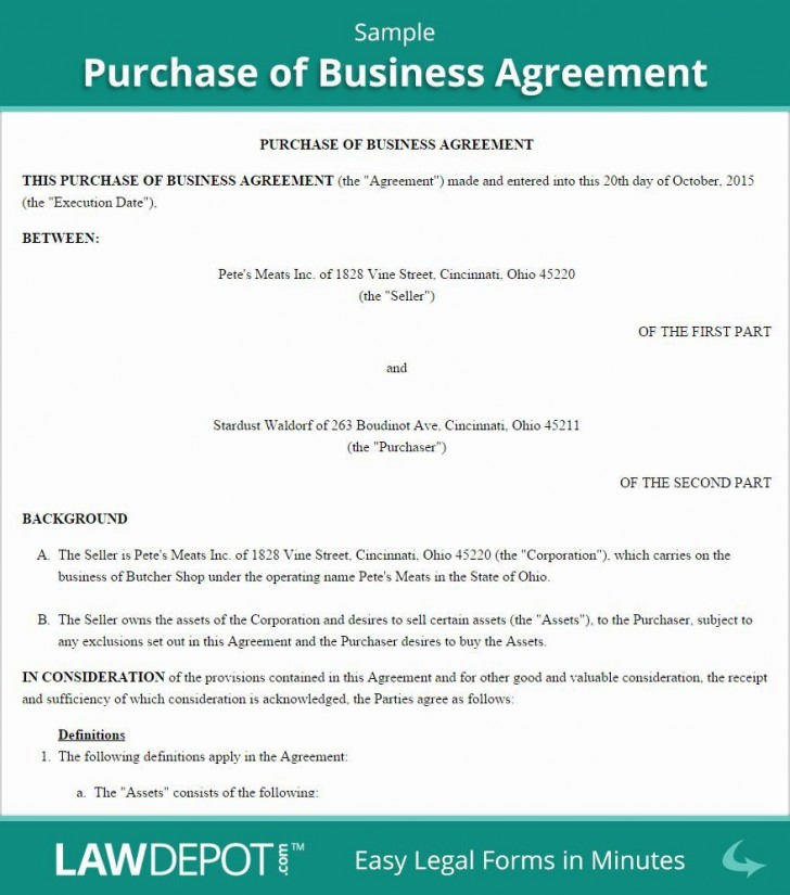 001 Awesome Busines Sale Agreement Template Image  Western Australia Free Uk Download South Africa728