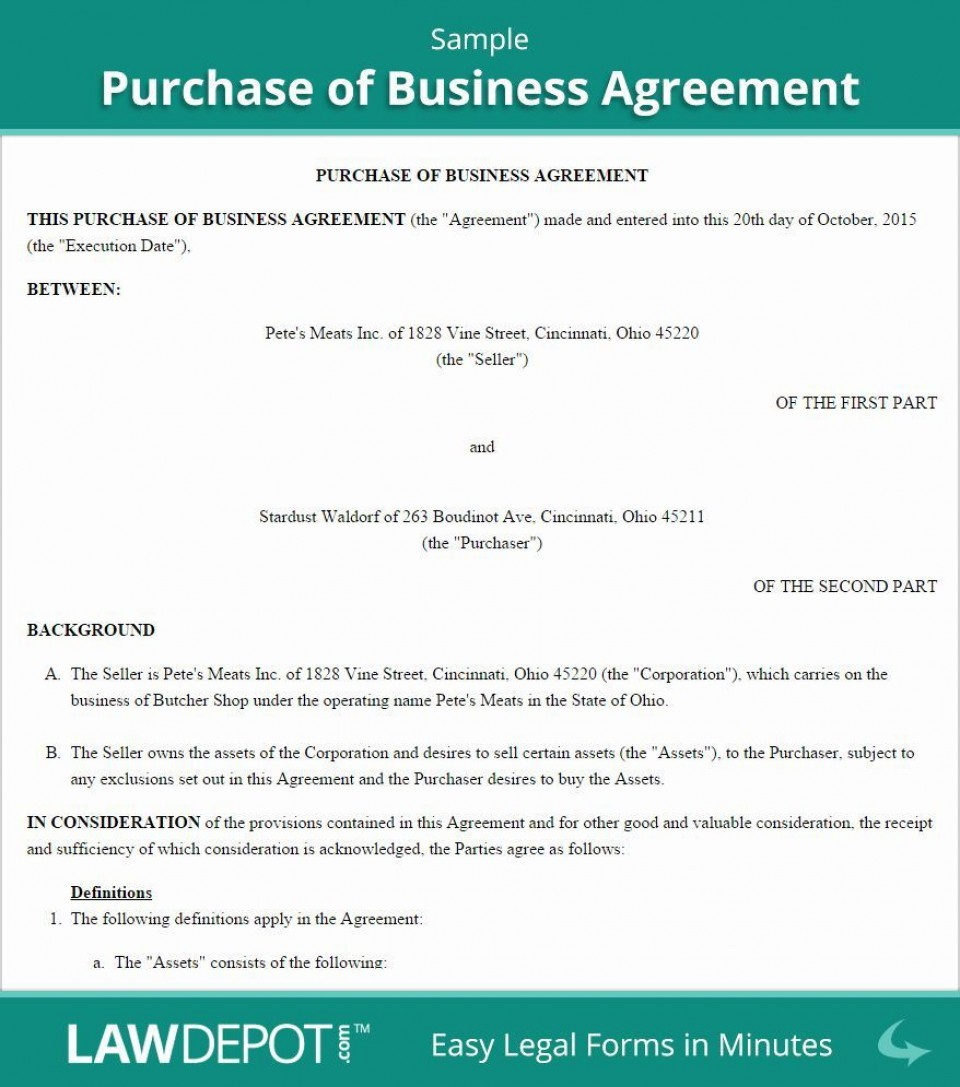 001 Awesome Busines Sale Agreement Template Image  Western Australia Free Uk Download South Africa960