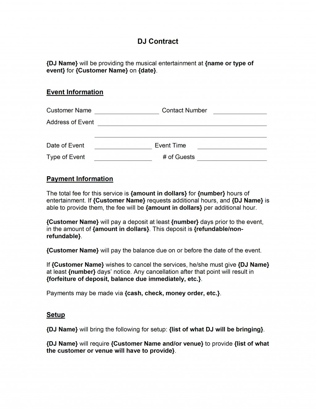 001 Awesome Disc Jockey Contract Template Highest Clarity  Disk FreeLarge