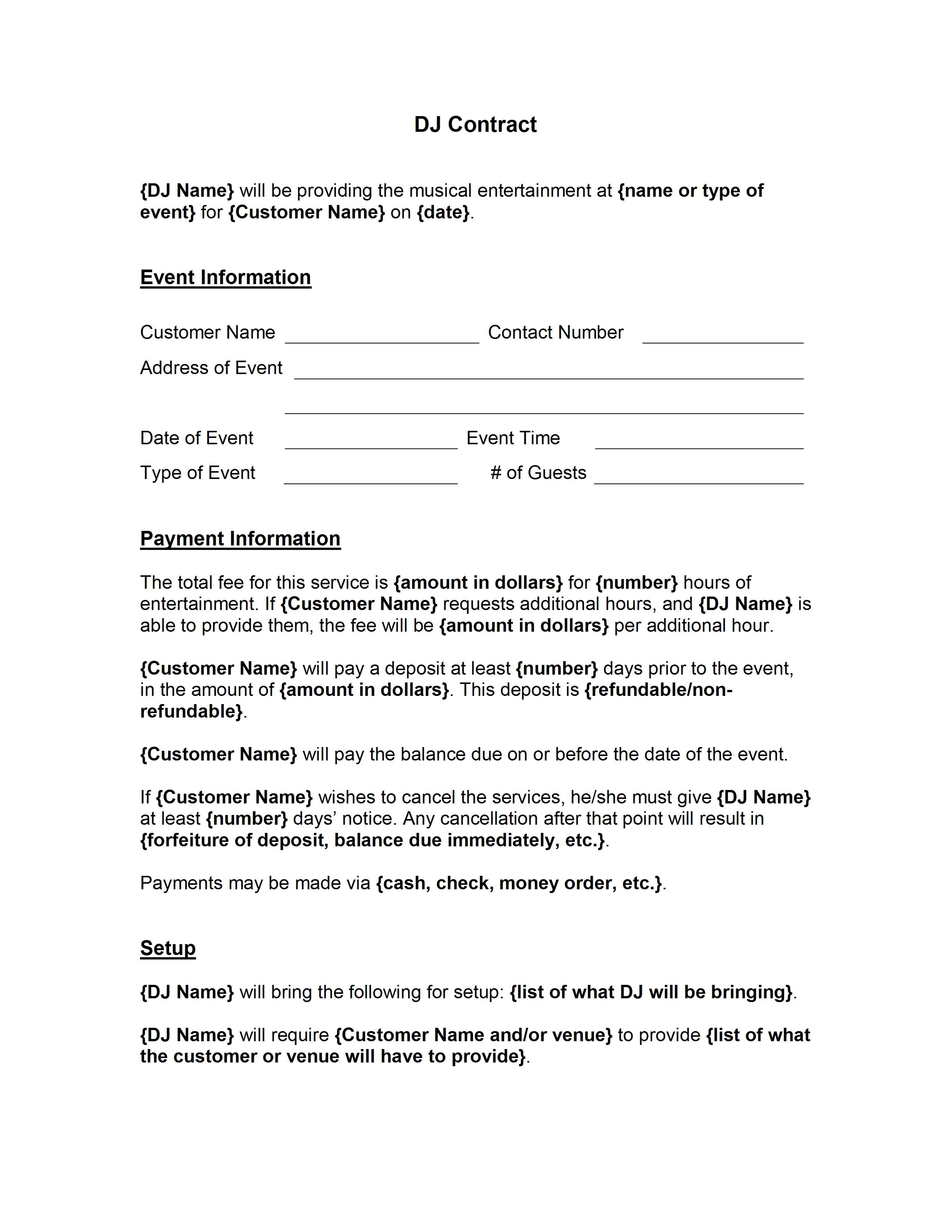 001 Awesome Disc Jockey Contract Template Highest Clarity  Disk FreeFull
