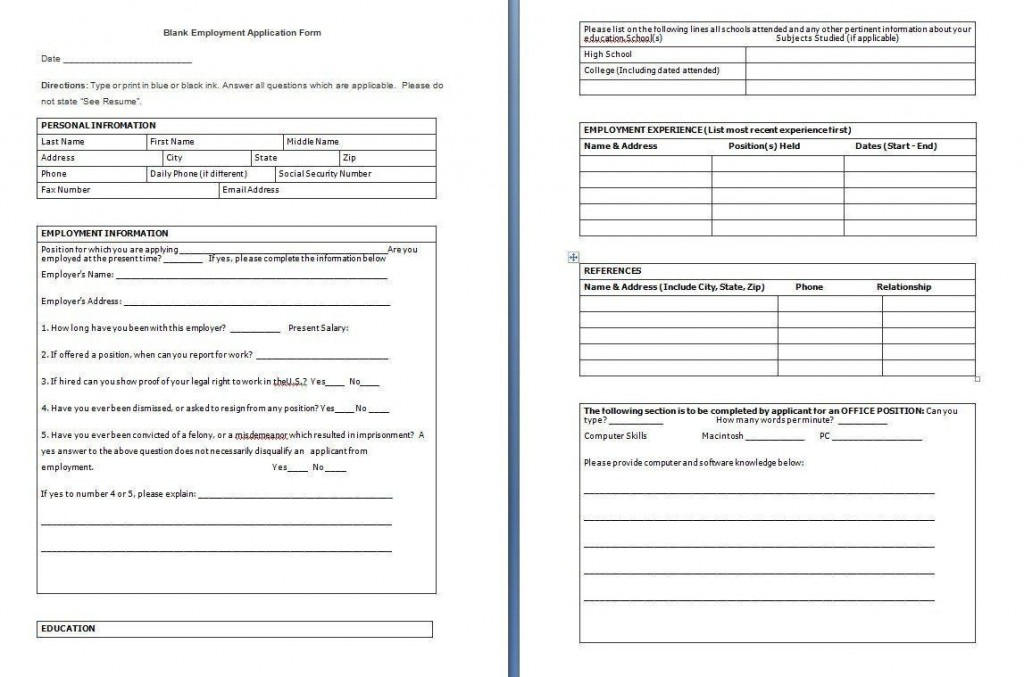 001 Awesome Employee Application Form Template Word Highest Clarity  Job Download Simple Example UkLarge