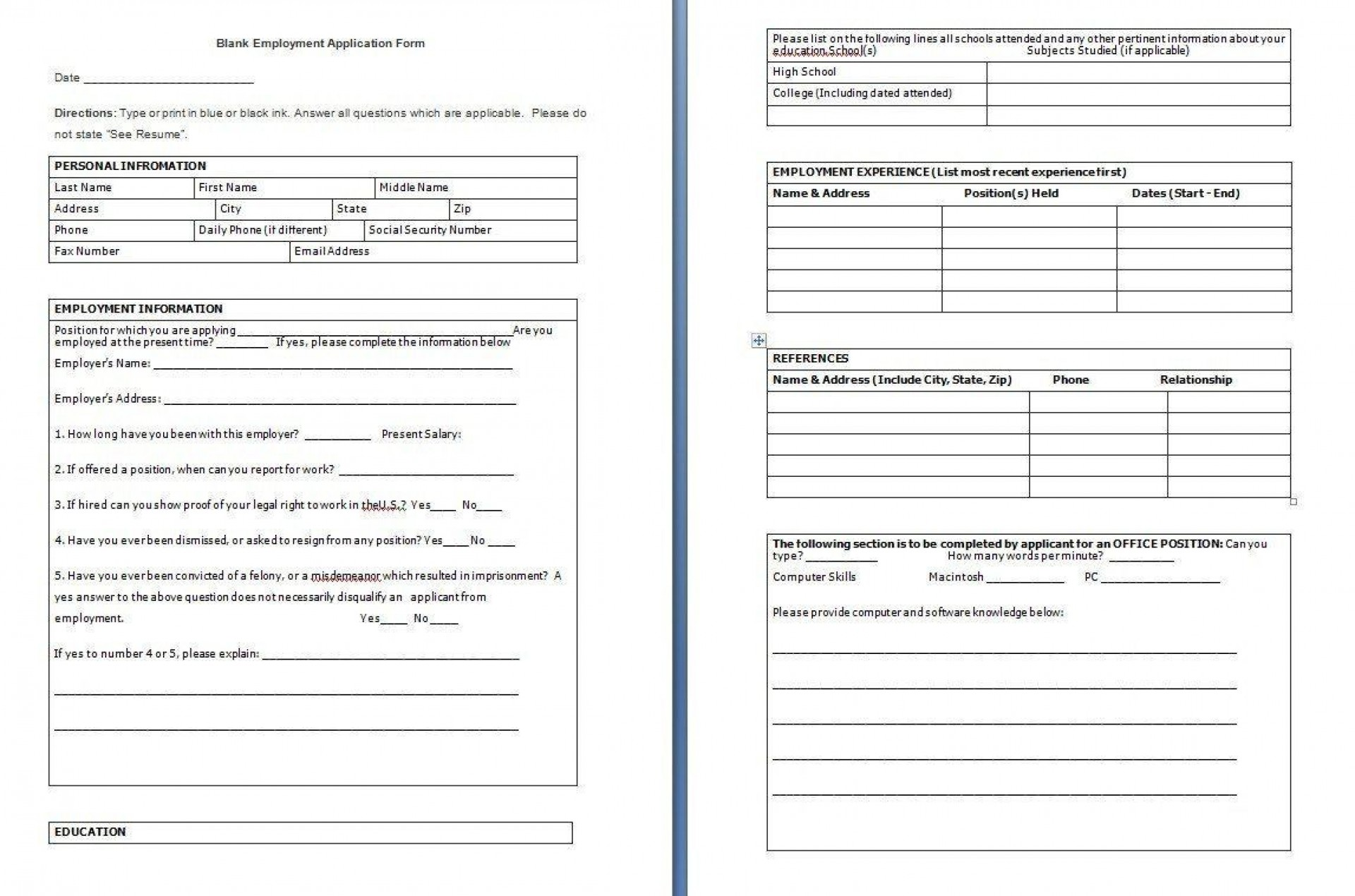 001 Awesome Employee Application Form Template Word Highest Clarity  Job Download Simple Example Uk1920