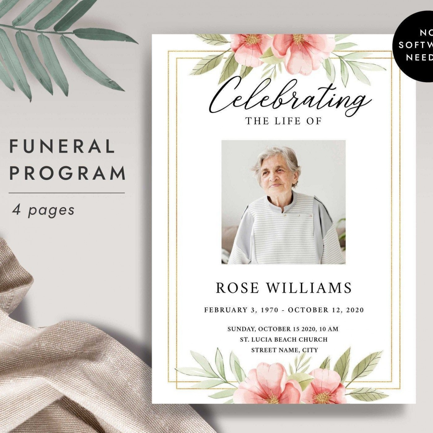 001 Awesome Free Printable Celebration Of Life Program Template High Definition 1400
