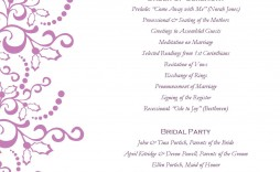 001 Awesome Free Template For Wedding Ceremony Program Inspiration  Programs