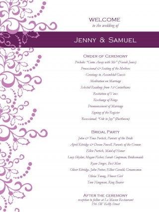 001 Awesome Free Template For Wedding Ceremony Program Inspiration 320