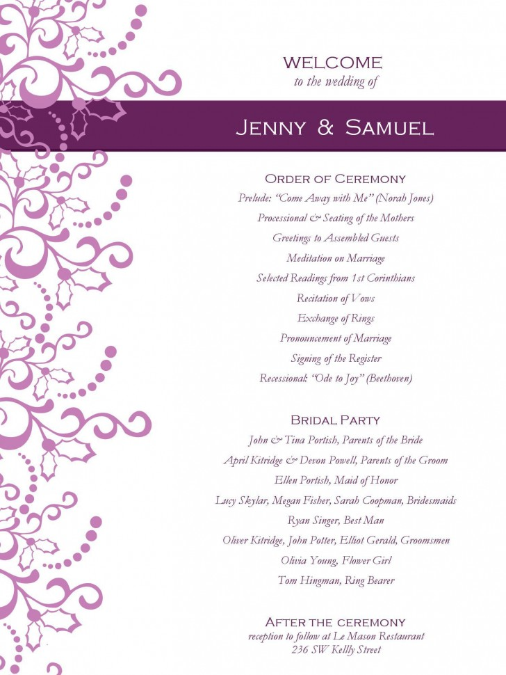 001 Awesome Free Template For Wedding Ceremony Program Inspiration 728
