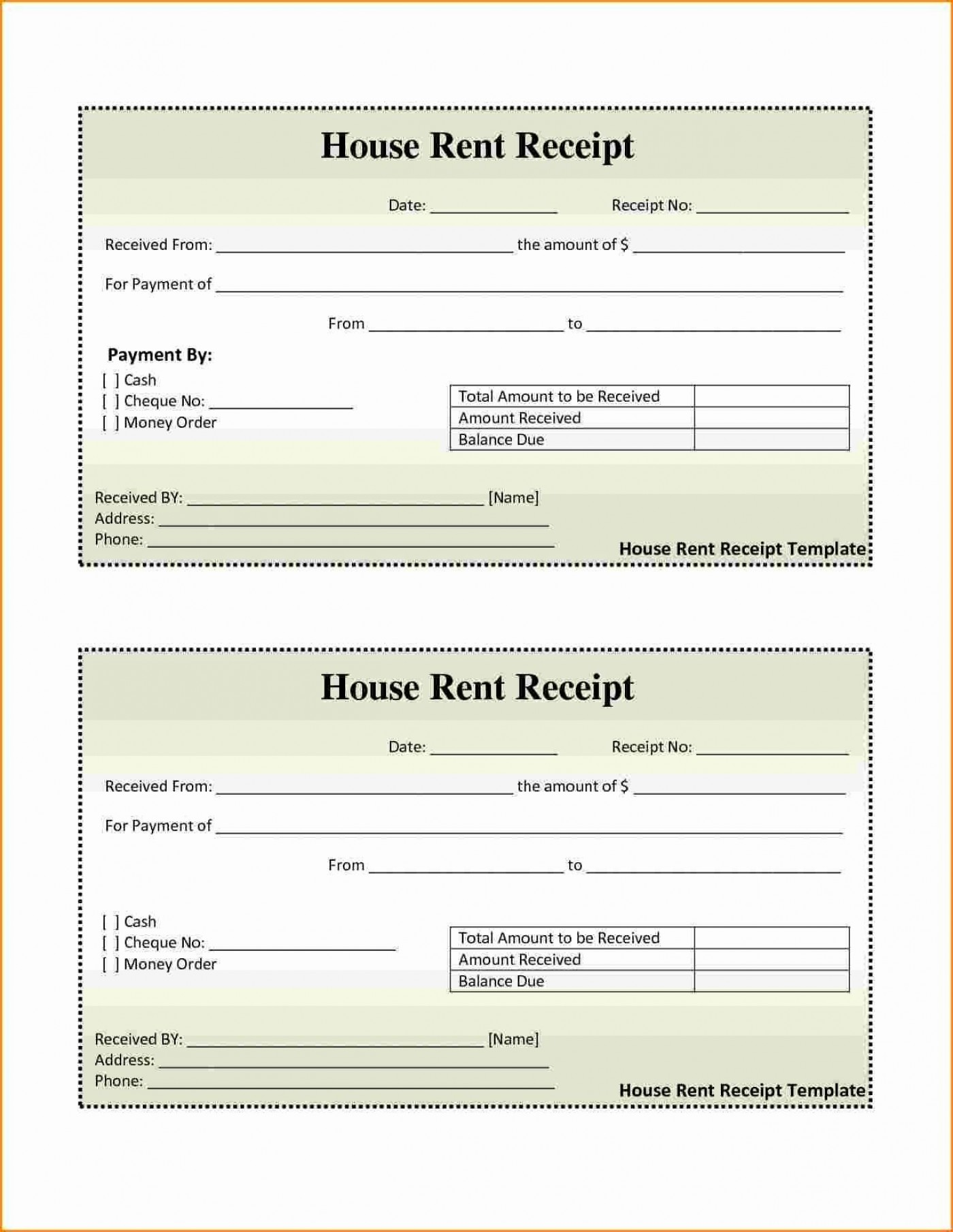 001 Awesome House Rent Receipt Sample Doc Idea  Format Download Bill Template India1400