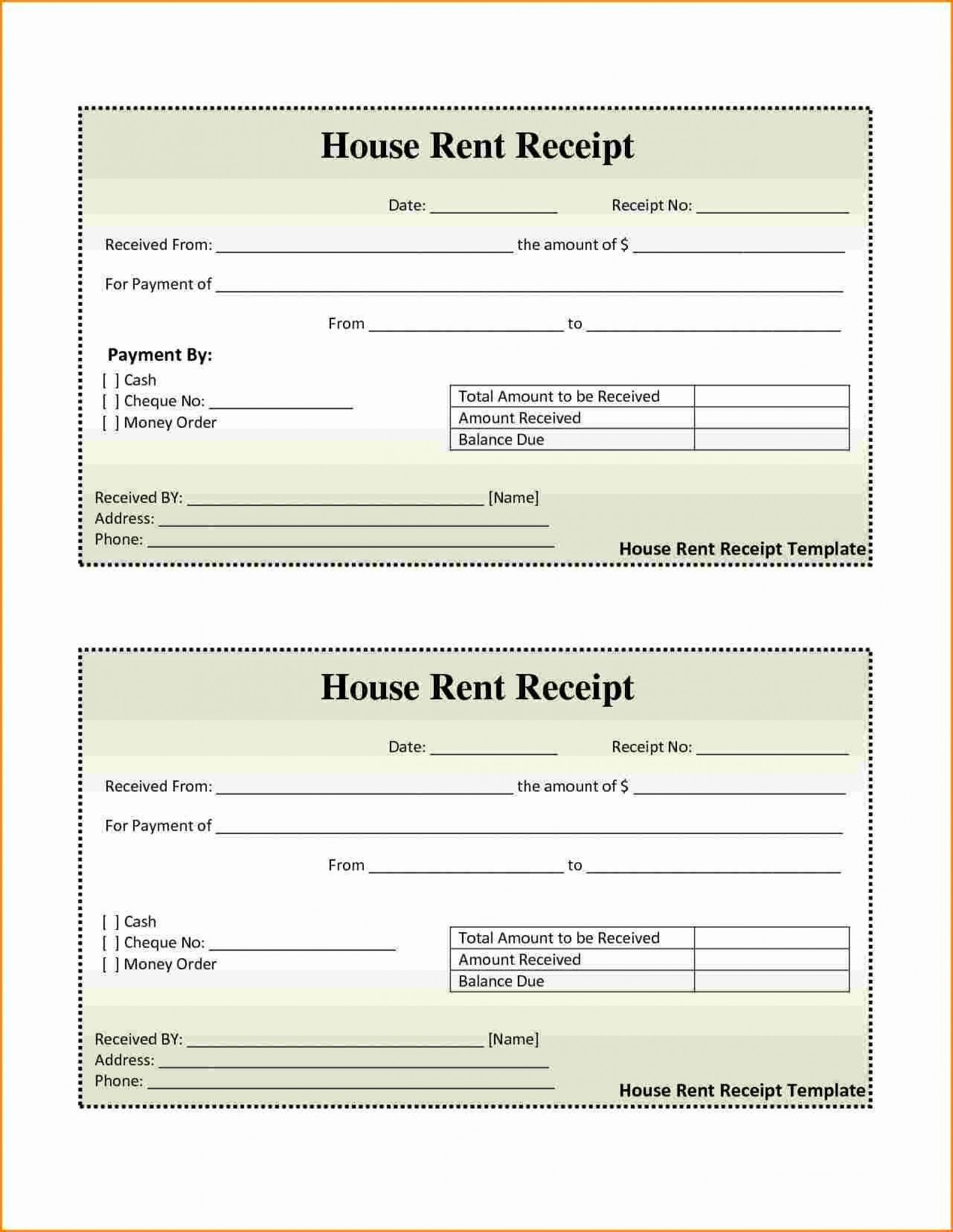 001 Awesome House Rent Receipt Sample Doc Idea  Format Download Bill Template India1920