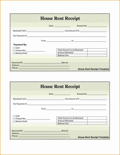 001 Awesome House Rent Receipt Sample Doc Idea  Format Download Bill Template India480