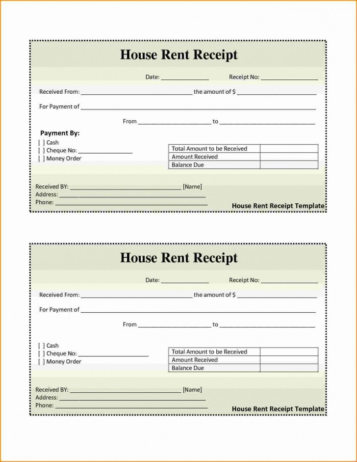 001 Awesome House Rent Receipt Sample Doc Idea  Format Download Bill Template India728