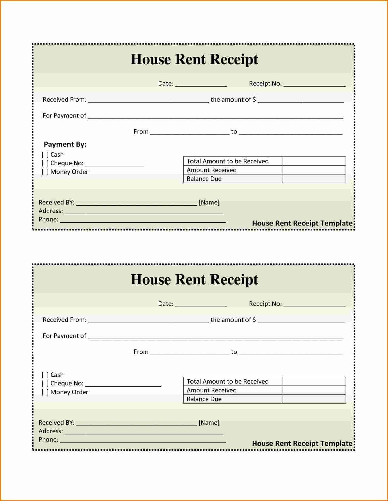 001 Awesome House Rent Receipt Sample Doc Idea  Format Download Bill Template IndiaFull