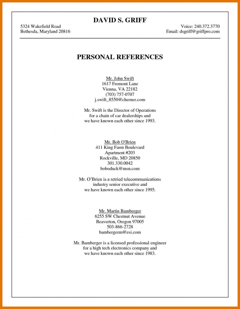 001 Awesome List Of Professional Reference Template Image  Sample Job Format960