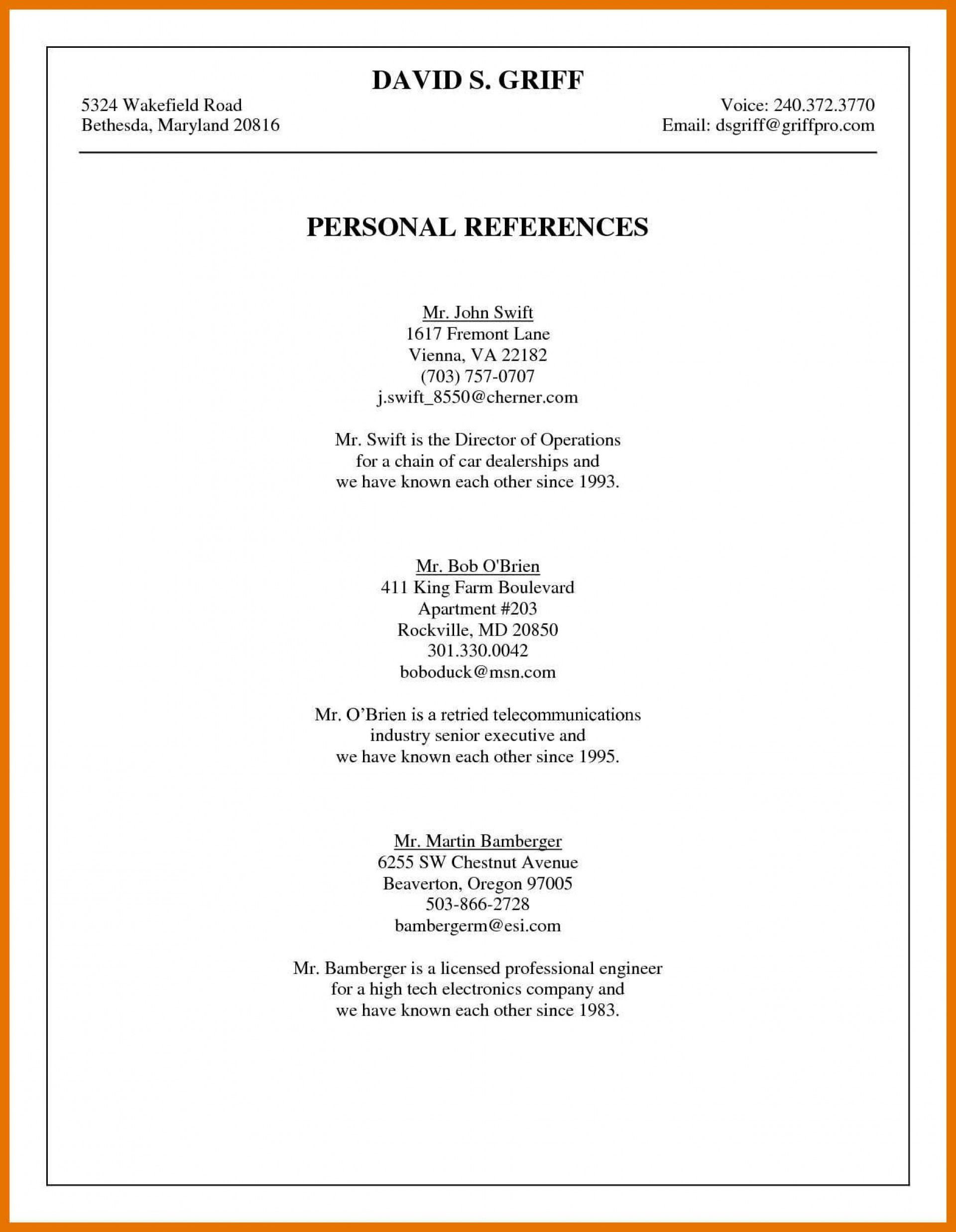 001 Awesome List Of Professional Reference Template Image  Sample Job Format