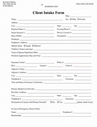 001 Awesome Mental Health Intake Form Template Sample  Counseling Assessment320