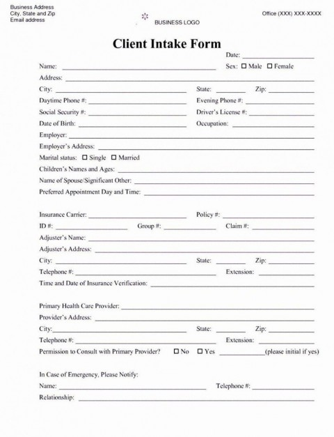 001 Awesome Mental Health Intake Form Template Sample  Counseling Assessment480