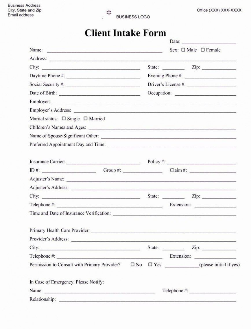 001 Awesome Mental Health Intake Form Template Sample  Counseling Assessment868