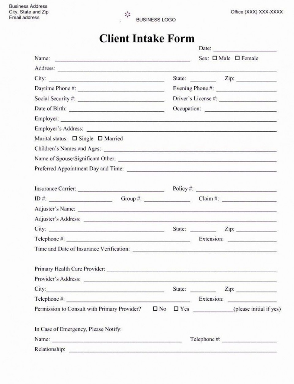 001 Awesome Mental Health Intake Form Template Sample  Counseling Assessment960