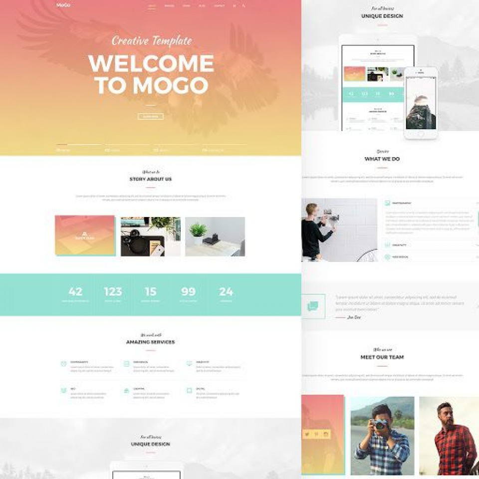 001 Awesome One Page Website Template Psd Free Download Photo 960