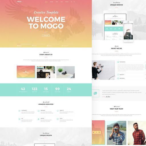001 Awesome One Page Website Template Psd Free Download Photo Full