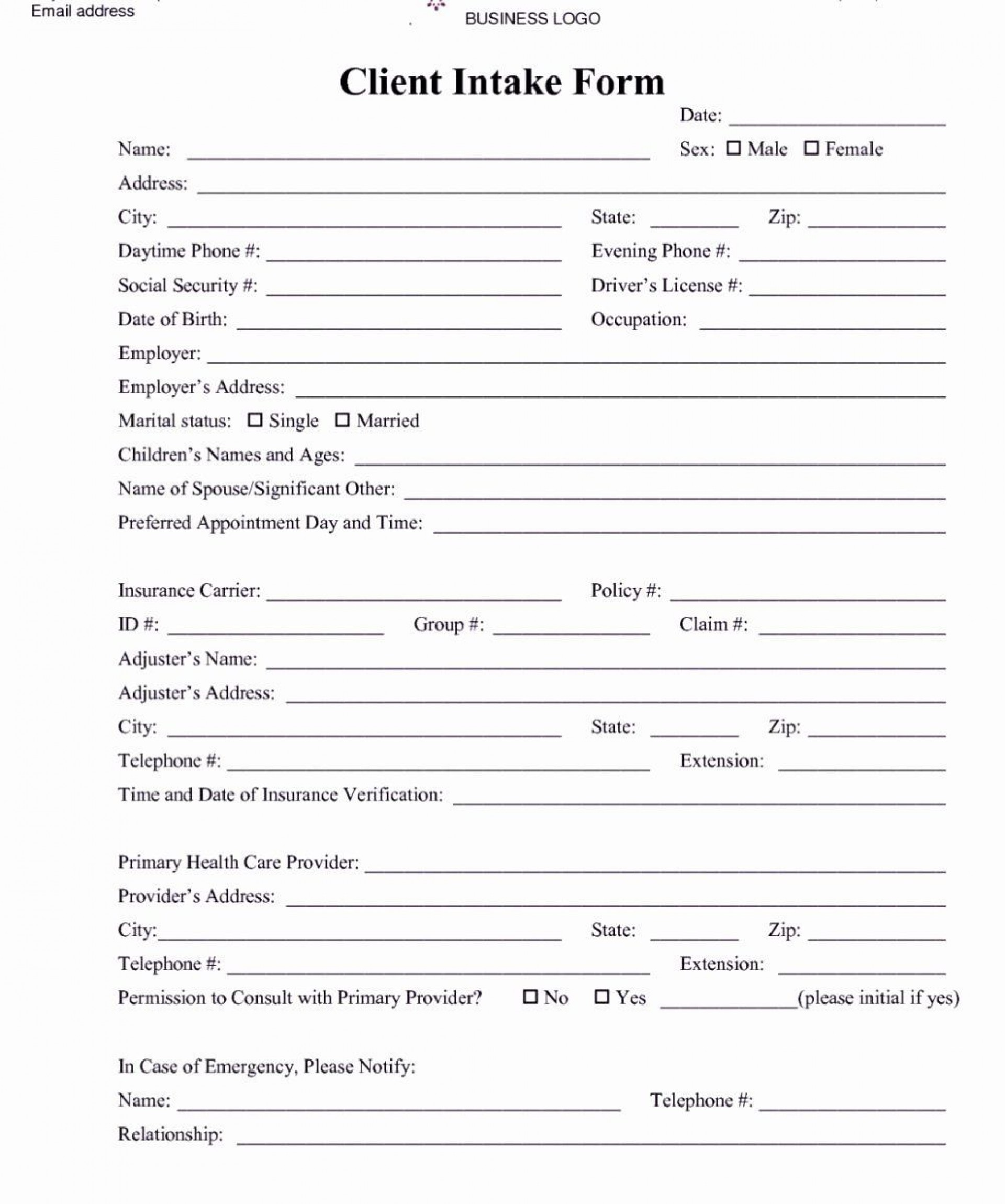 001 Awesome Patient Intake Form Template High Definition  Word Client Excel Pdf1920
