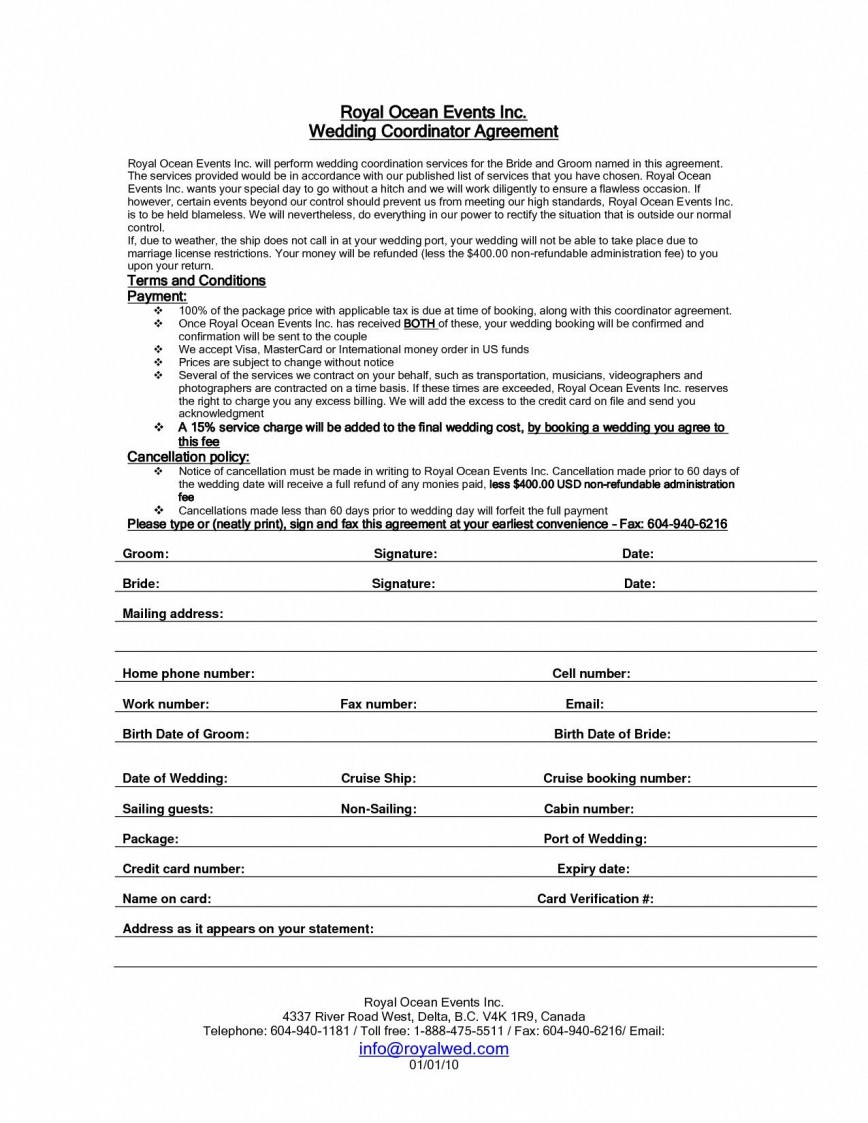 001 Awesome Wedding Planner Contract Template High Def  Agreement Australia Coordinator Free