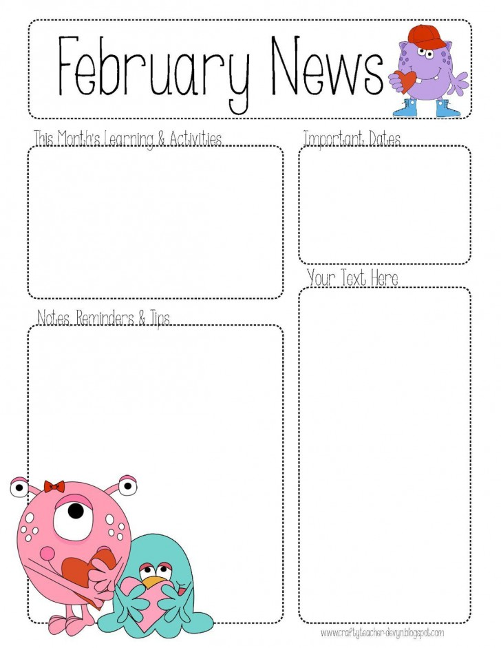 001 Awful Free Newsletter Template For Teacher Design  Downloadable Editable Preschool728