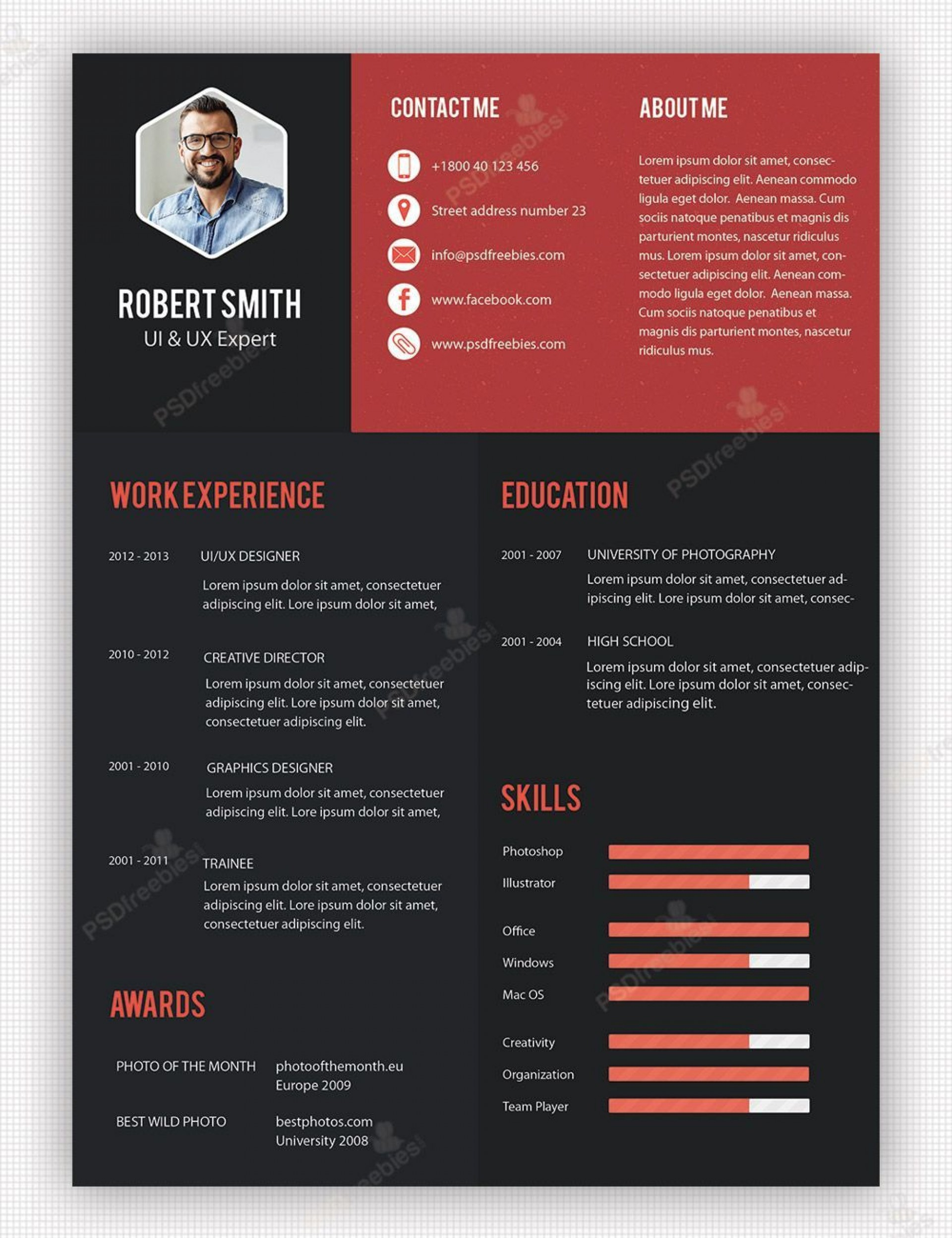 001 Awful Free Psd Resume Template Example  Templates Attractive Download Creative (psd Id) Curriculum Vitae1920