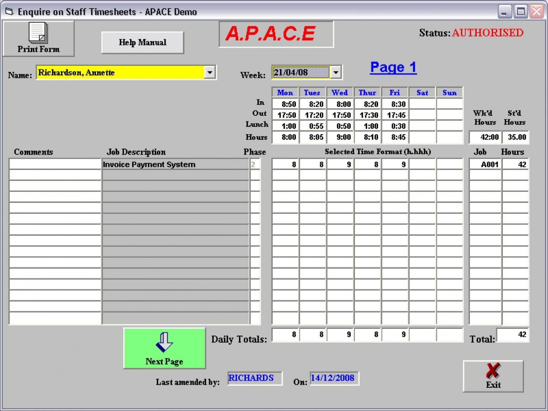 001 Awful Microsoft Acces Employee Time Card Template Idea 1920
