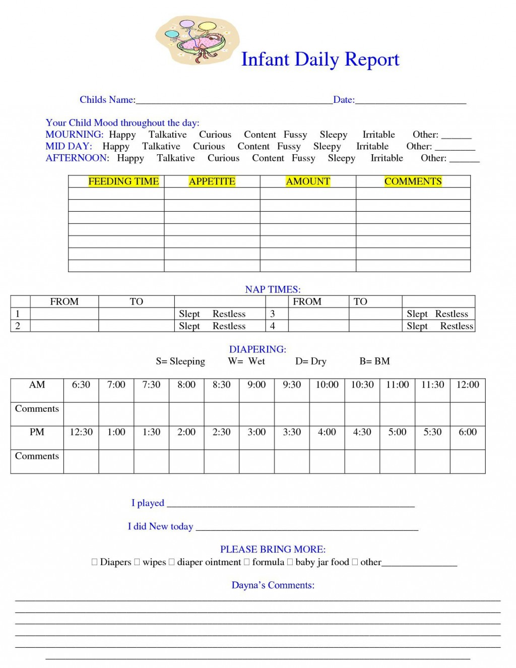 001 Awful Preschool Daily Report Template Inspiration  Form Baby SheetLarge