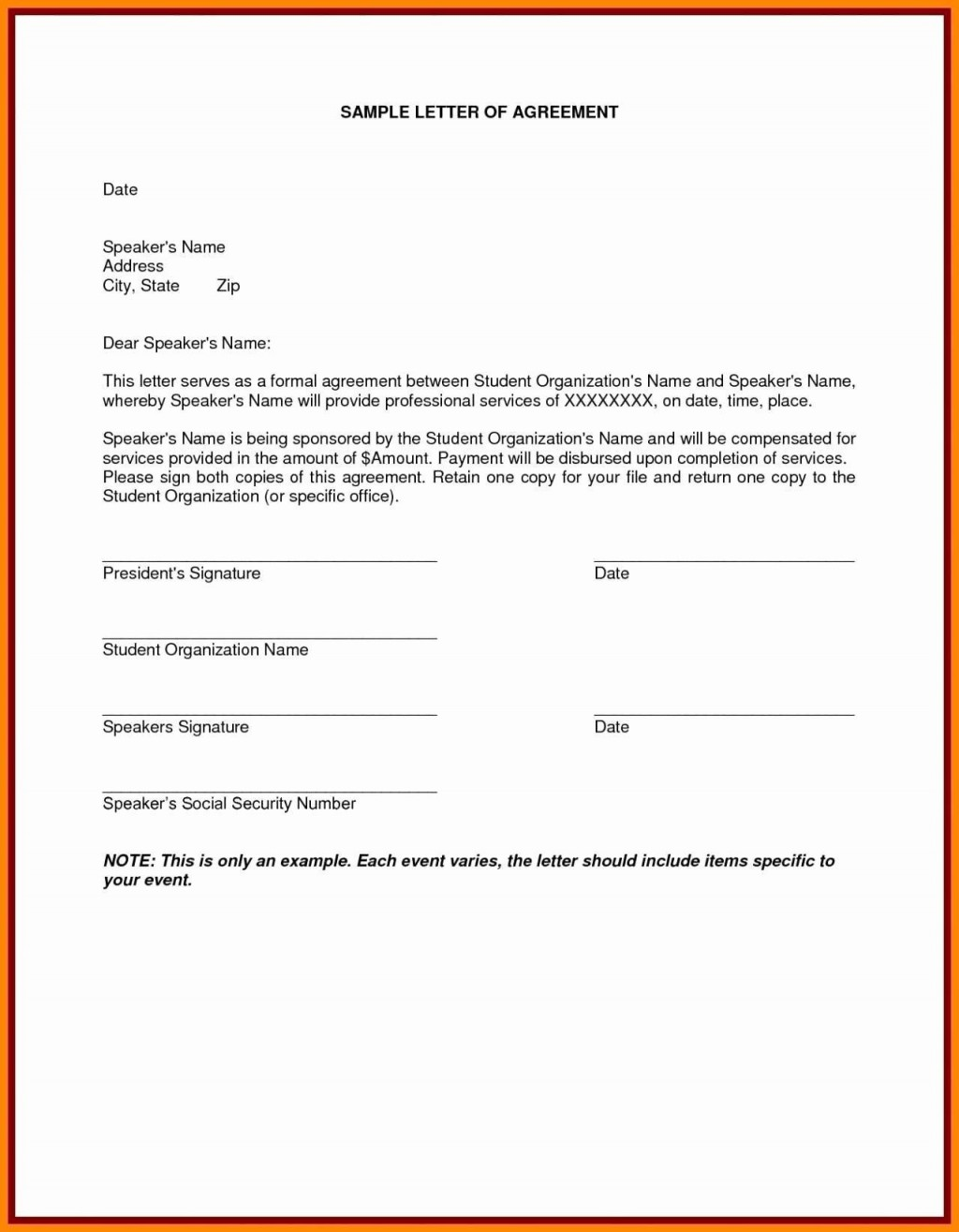 001 Awful Sample Letter Of Agreement Template Image  For A In Project PrepareLarge