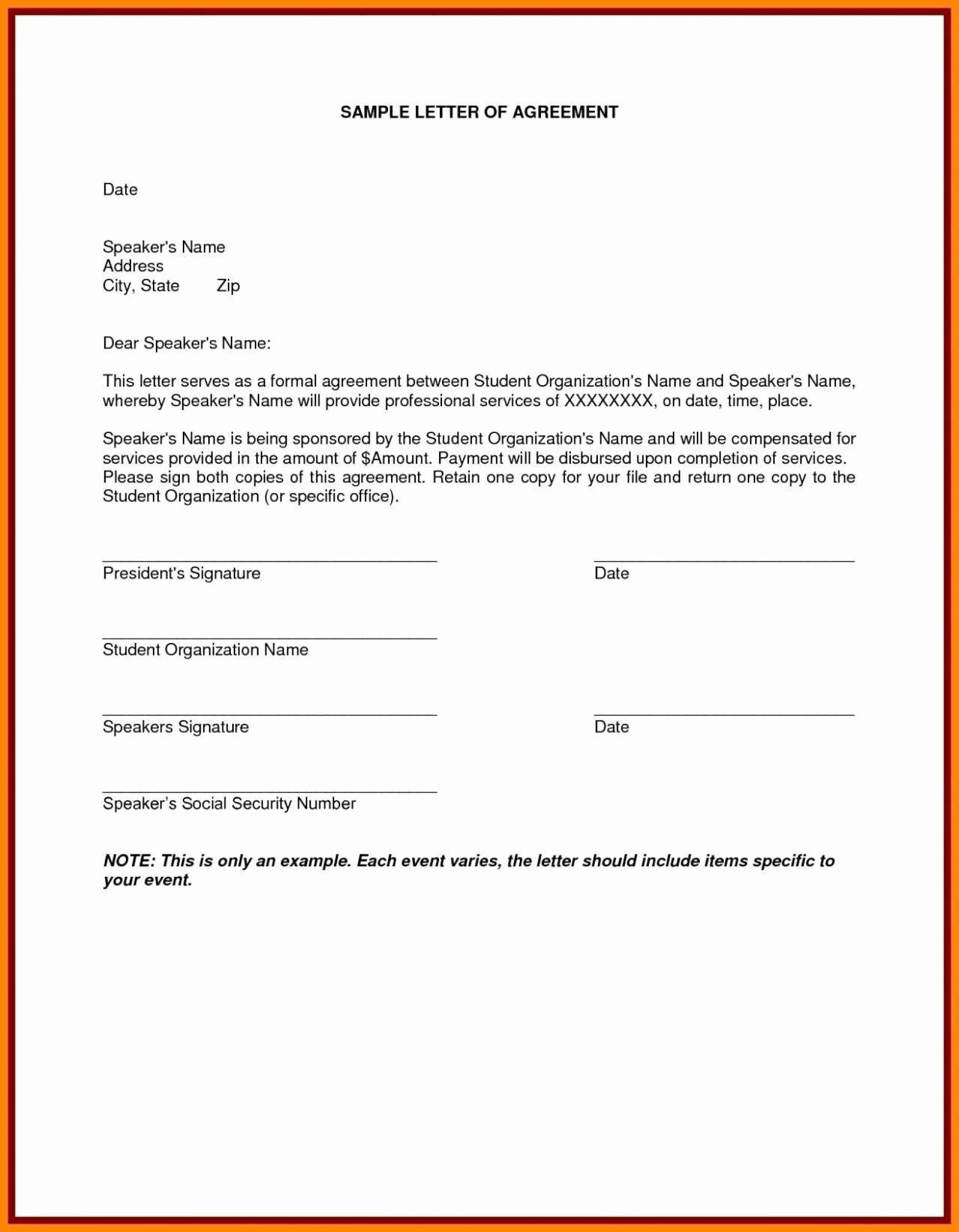 001 Awful Sample Letter Of Agreement Template Image  For A In Project Prepare1920