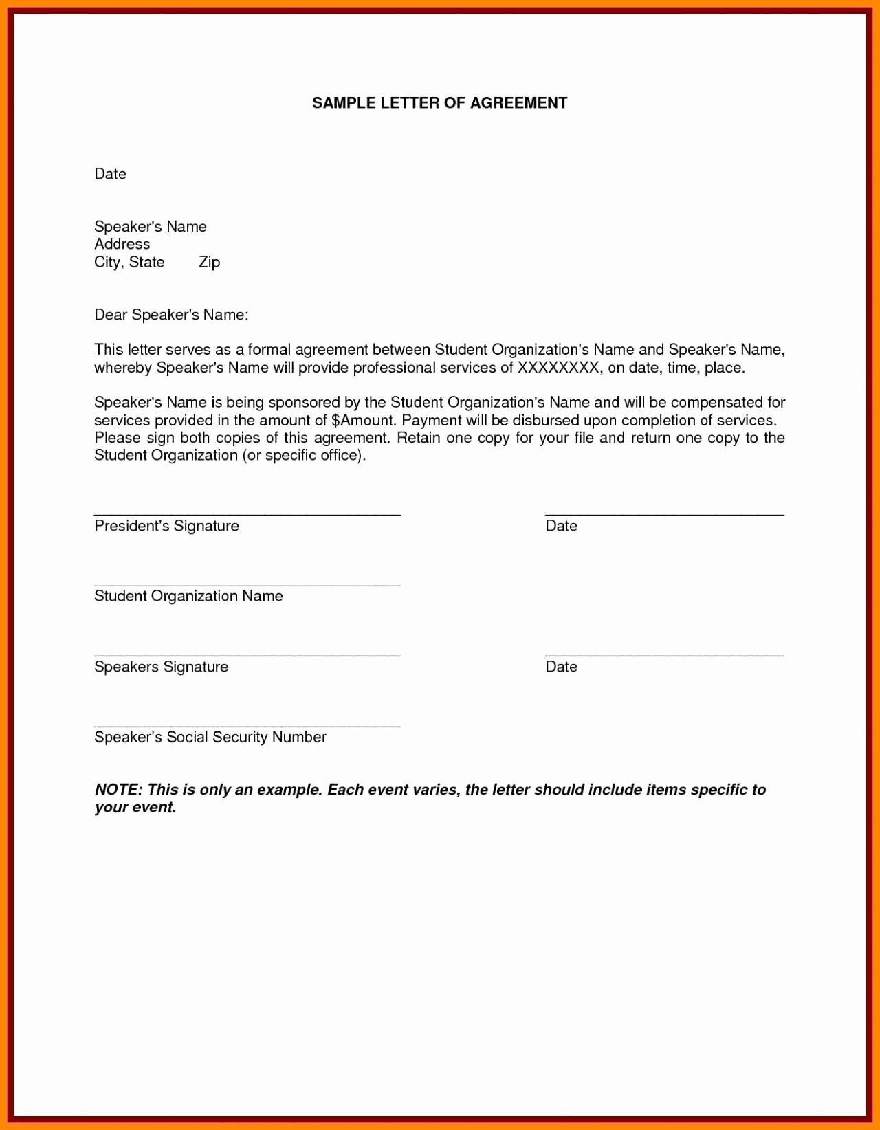001 Awful Sample Letter Of Agreement Template Image  For A In Project PrepareFull