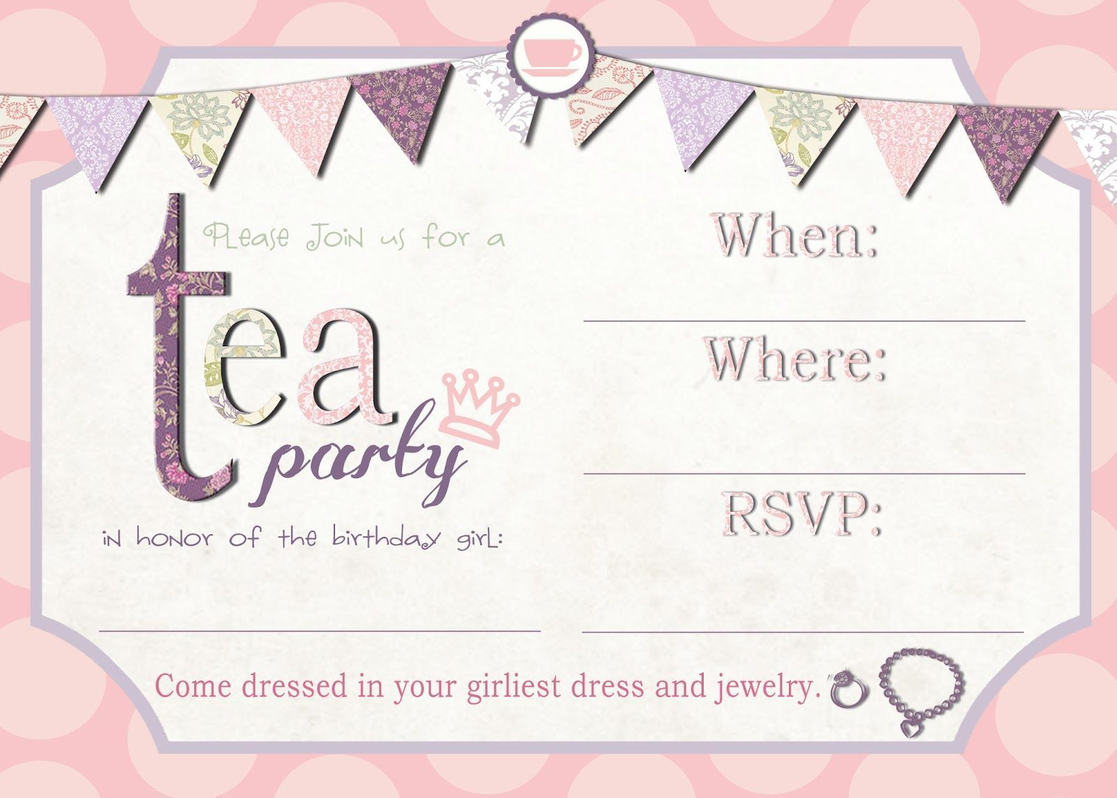 001 Awful Tea Party Invitation Template High Definition  Vintage Free Editable Card PdfFull