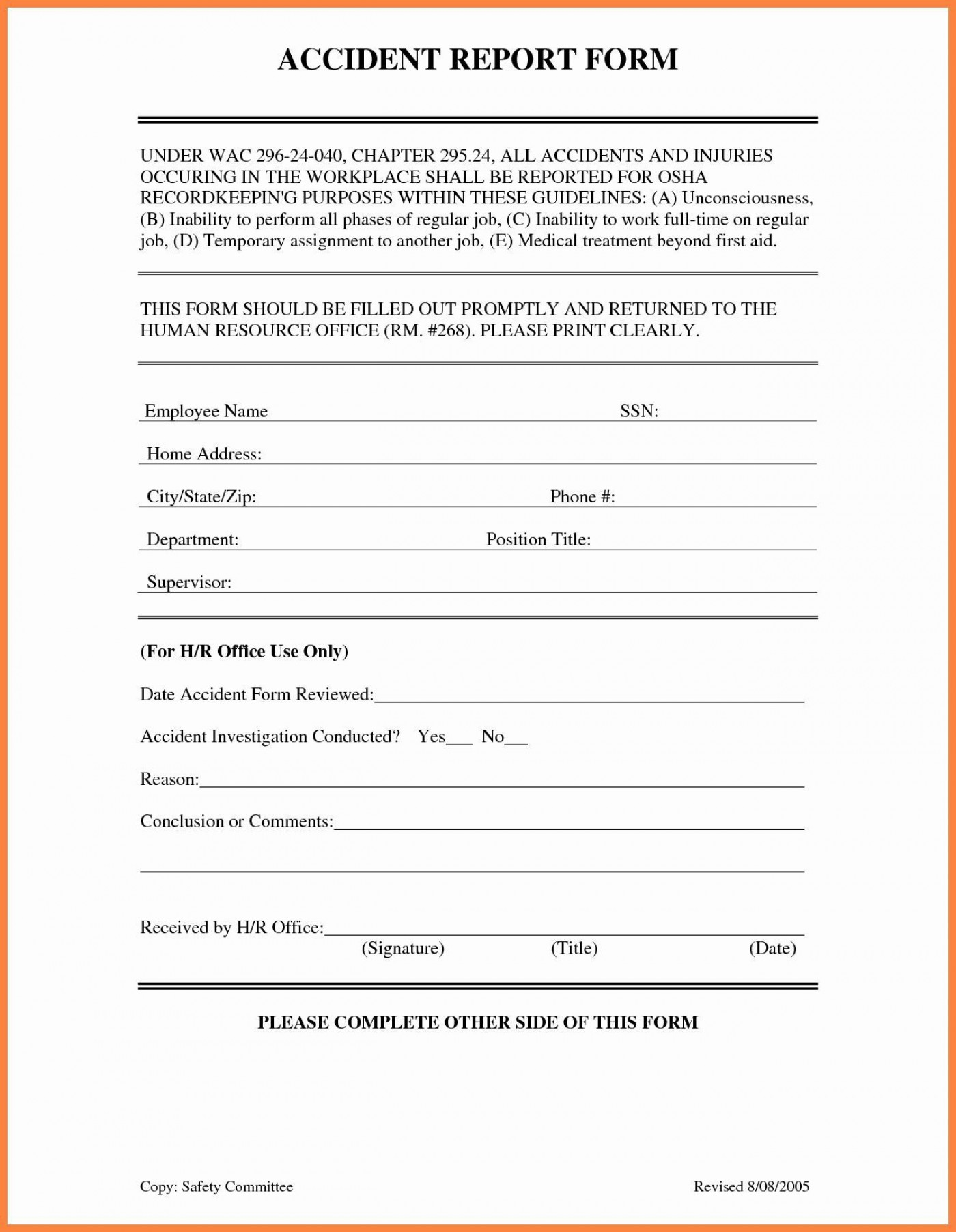 001 Awful Workplace Injury Report Form Template Ontario Highest Clarity 1400