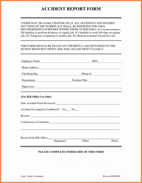 001 Awful Workplace Injury Report Form Template Ontario Highest Clarity 480