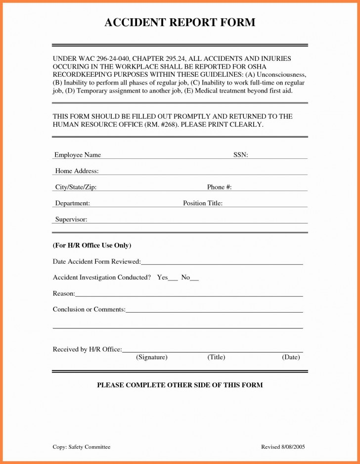 001 Awful Workplace Injury Report Form Template Ontario Highest Clarity 728