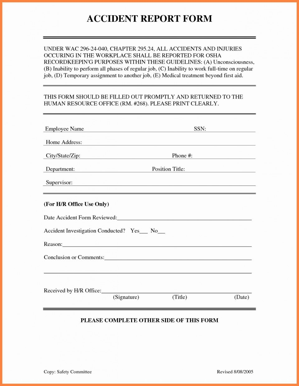 001 Awful Workplace Injury Report Form Template Ontario Highest Clarity 960