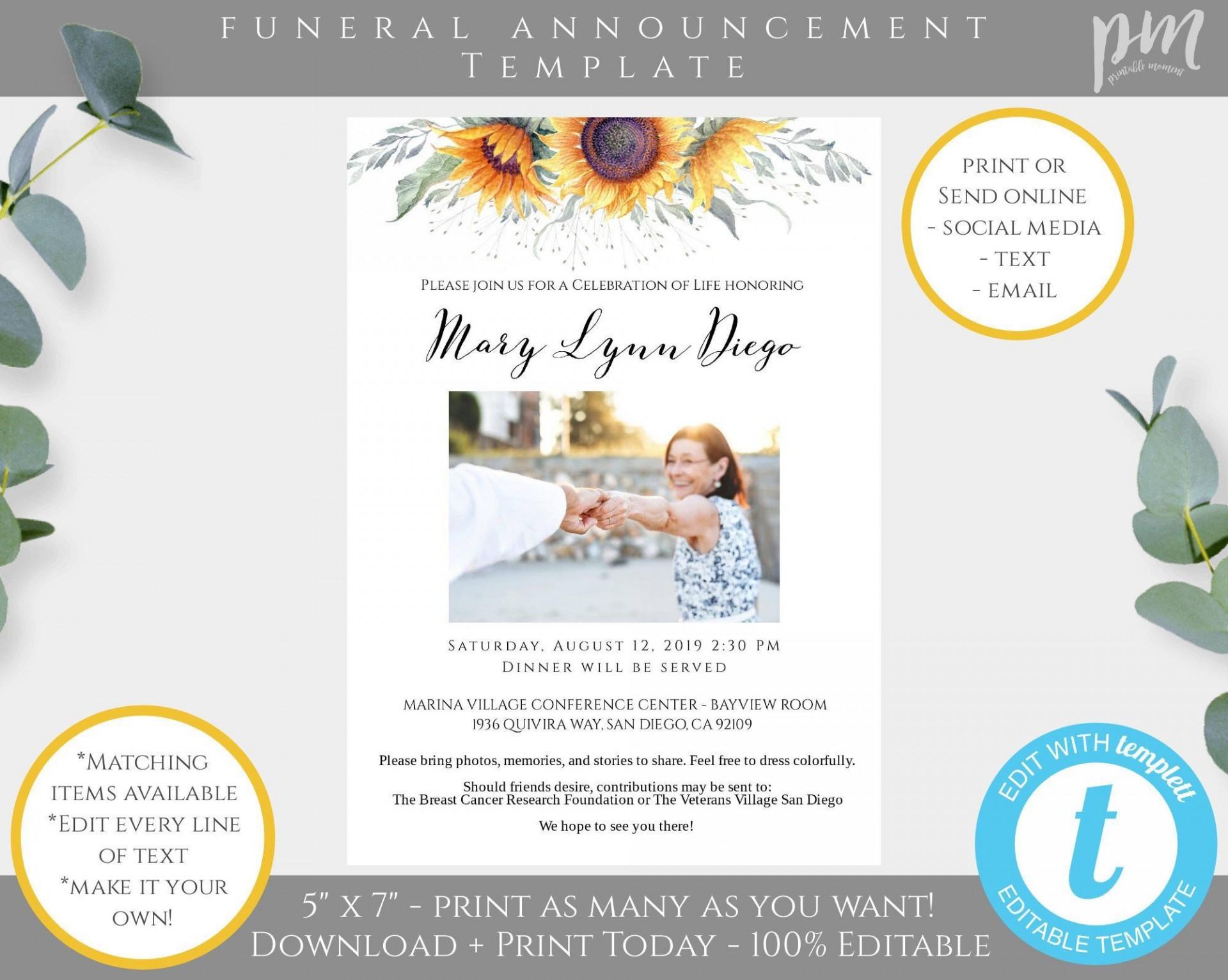 001 Beautiful Celebration Of Life Announcement Template Free Sample  Invitation Download Invite1920