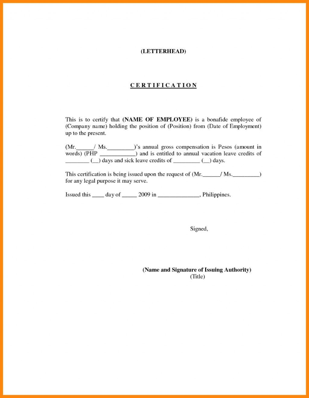 001 Beautiful Certificate Of Employment Template Sample  Nz Word Format FreeLarge