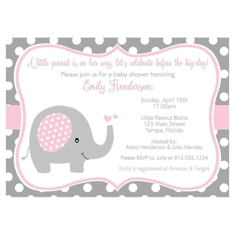 001 Beautiful Elephant Baby Shower Invitation Girl Pink Design Full