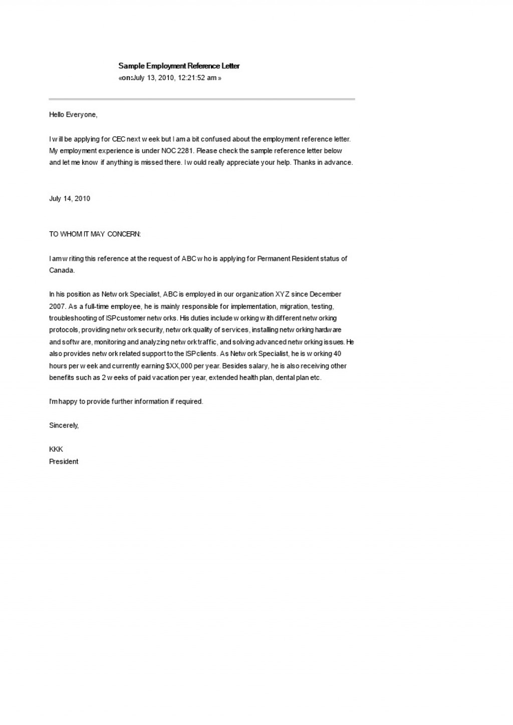 Employees Reference Letter Sample from www.addictionary.org