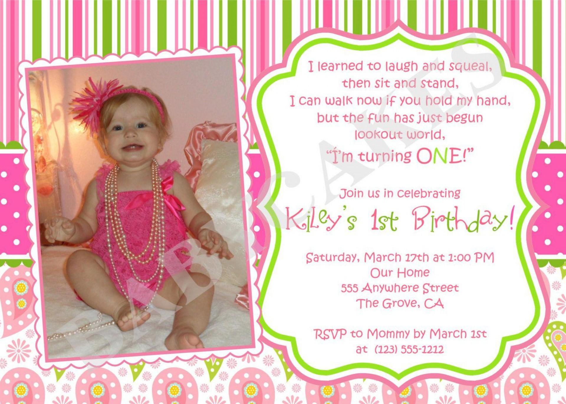 001 Beautiful Free 1st Birthday Invitation Template For Word Inspiration 1920