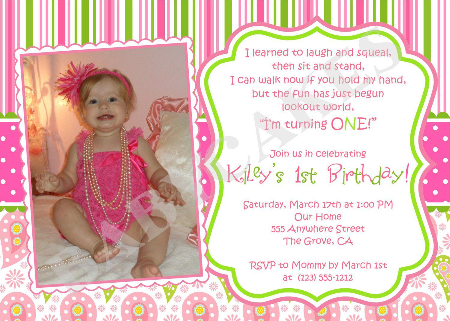 001 Beautiful Free 1st Birthday Invitation Template For Word Inspiration Full
