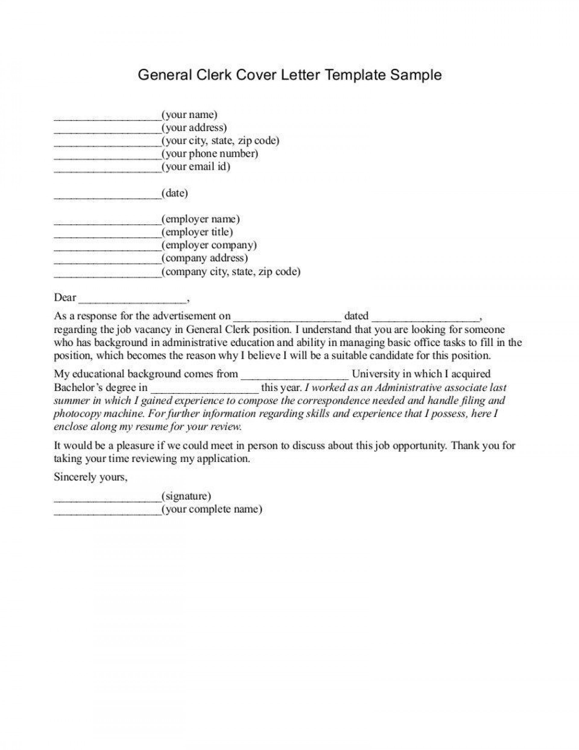 Sample Generic Cover Letter from www.addictionary.org